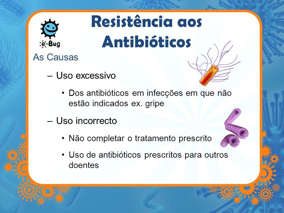 Resistência aos Antibióticos As Causas –Uso excessivo Dos antibióticos em infecções em que não estão indicados ex. gripe –Uso incorrecto Não completar