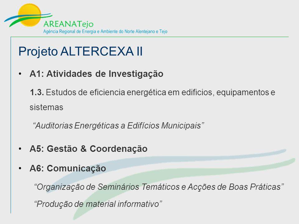 Projeto ALTERCEXA II A5: Gestão & Coordenação A6: Comunicação A1: Atividades de Investigação 1.3.