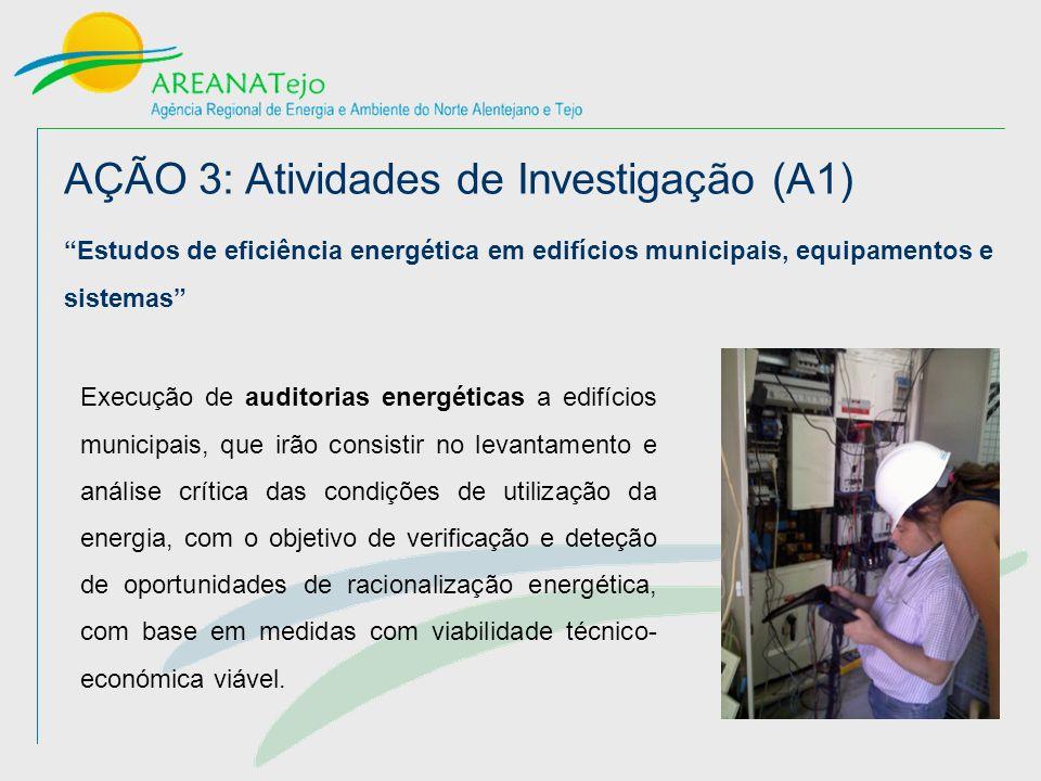 AÇÃO 3: Atividades de Investigação (A1) Estudos de eficiência energética em edifícios municipais, equipamentos e sistemas Execução de auditorias energéticas a edifícios municipais, que irão consistir no levantamento e análise crítica das condições de utilização da energia, com o objetivo de verificação e deteção de oportunidades de racionalização energética, com base em medidas com viabilidade técnico- económica viável.