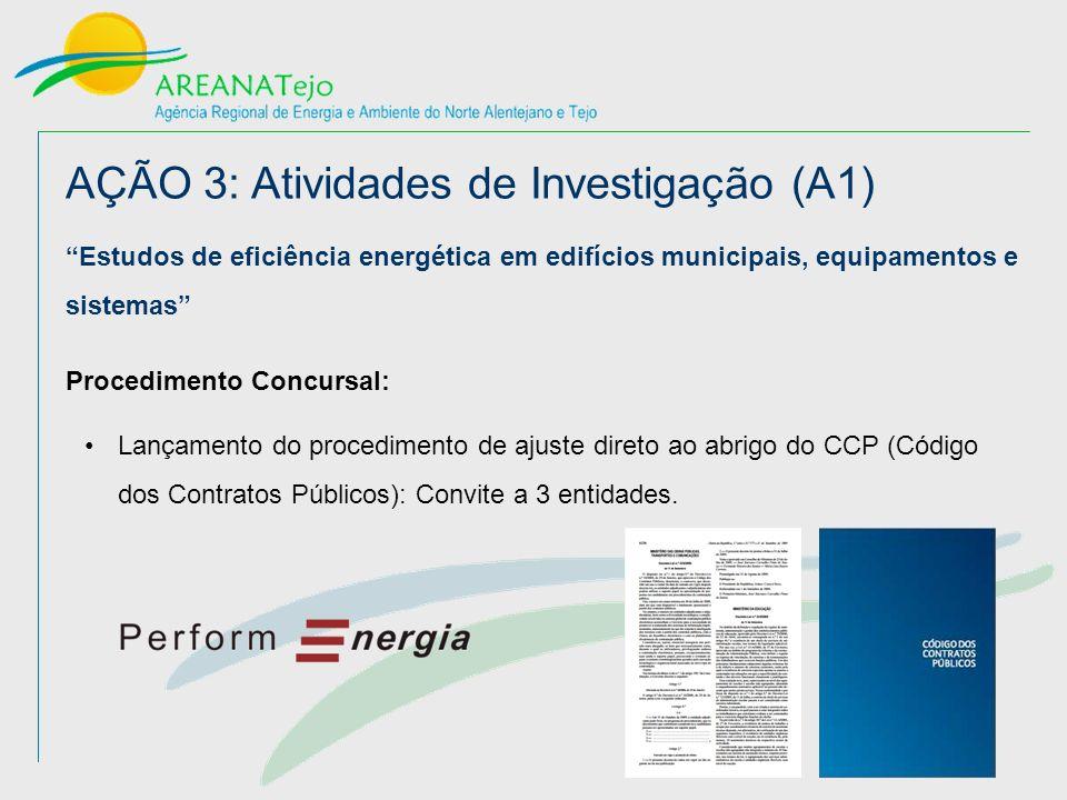 AÇÃO 3: Atividades de Investigação (A1) Estudos de eficiência energética em edifícios municipais, equipamentos e sistemas Procedimento Concursal: Lançamento do procedimento de ajuste direto ao abrigo do CCP (Código dos Contratos Públicos): Convite a 3 entidades.