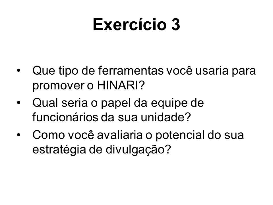 Exercício 3 Que tipo de ferramentas você usaria para promover o HINARI? Qual seria o papel da equipe de funcionários da sua unidade? Como você avaliar