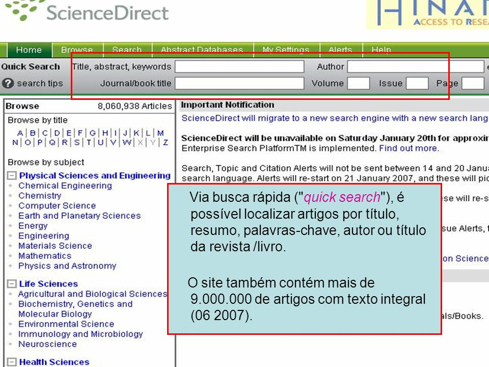 Science Direct 4 Via busca rápida (