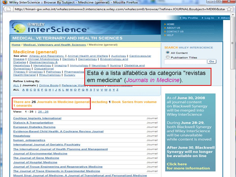 Wiley Interscience 4 Esta é a lista alfabética da categoria