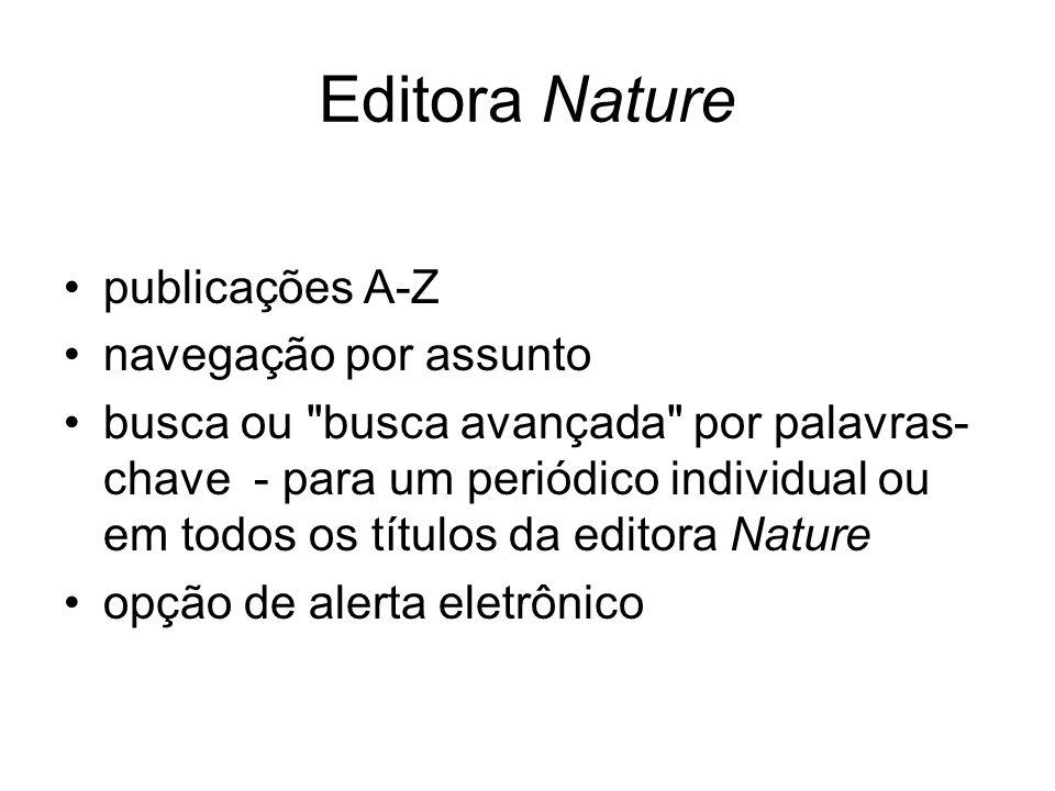 Editora Nature publicações A-Z navegação por assunto busca ou