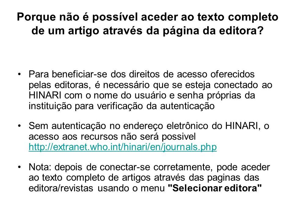 Porque não é possível aceder ao texto completo de um artigo através da página da editora.