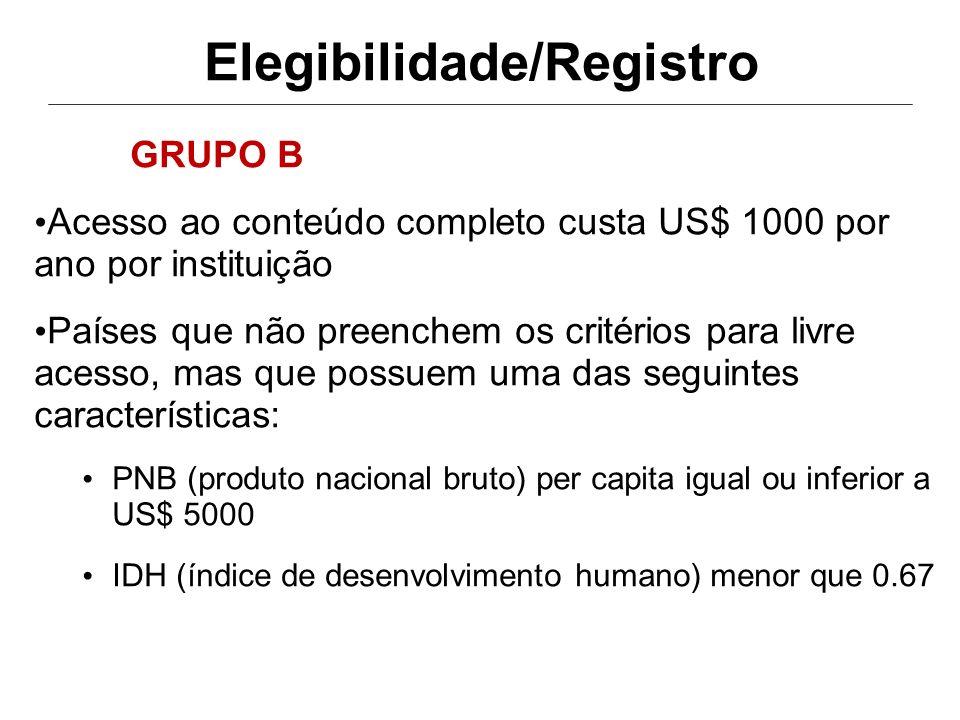 Elegibilidade/Registro Todos os países de língua portuguesa encontram- se no grupo A Para mais detalhes http://hinari.bvs.br/elegibilidade.htm