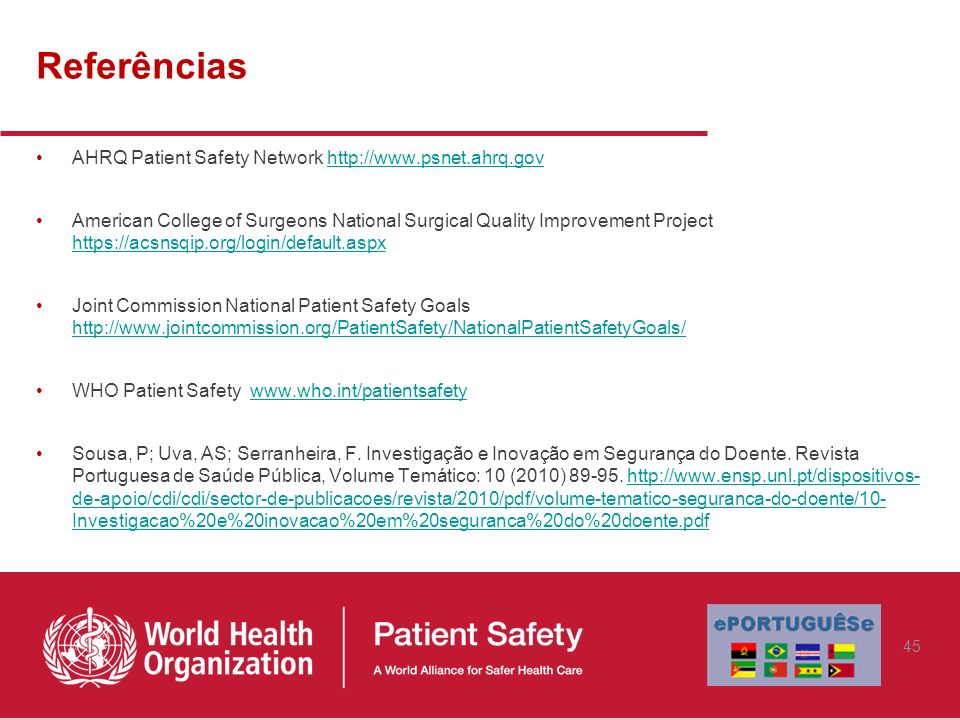 Referências AHRQ Patient Safety Network http://www.psnet.ahrq.govhttp://www.psnet.ahrq.gov American College of Surgeons National Surgical Quality Impr