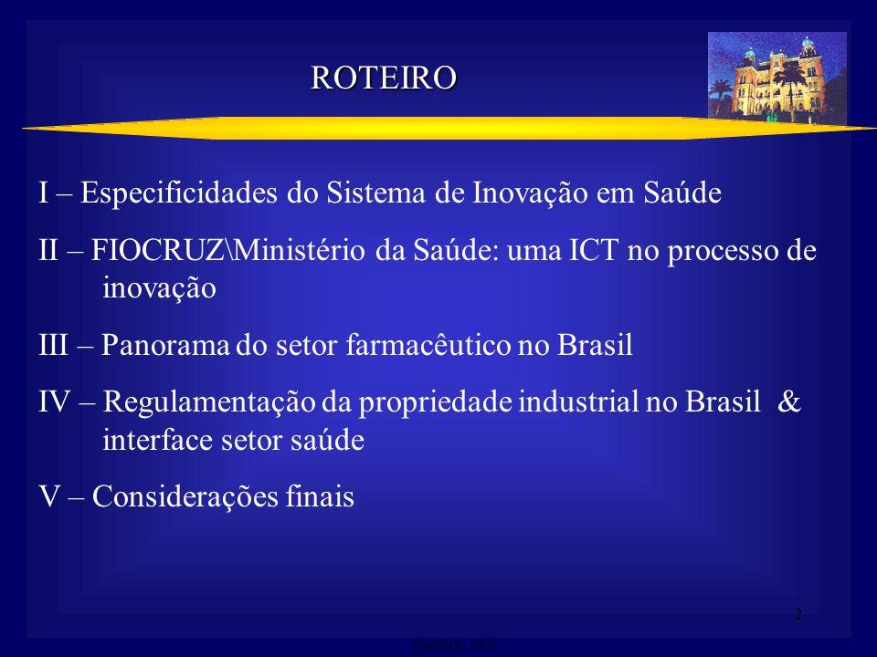 2 ROTEIRO I – Especificidades do Sistema de Inovação em Saúde II – FIOCRUZ\Ministério da Saúde: uma ICT no processo de inovação III – Panorama do seto