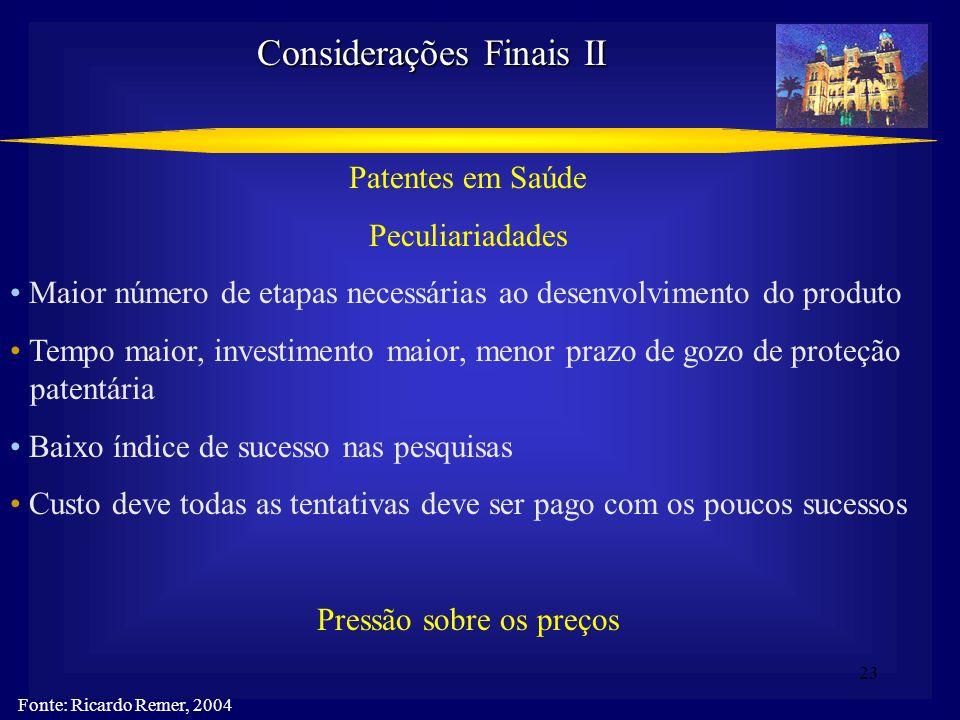 23 Considerações Finais II Fonte: Ricardo Remer, 2004 Patentes em Saúde Peculiariadades Maior número de etapas necessárias ao desenvolvimento do produ