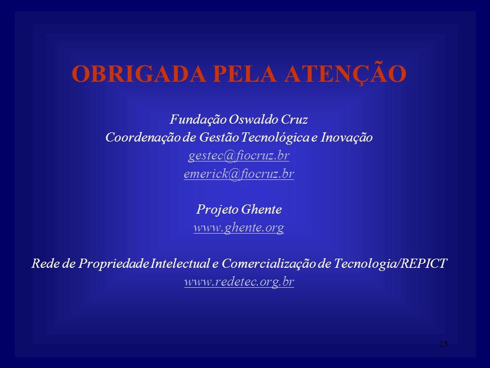 25 OBRIGADA PELA ATENÇÃO Fundação Oswaldo Cruz Coordenação de Gestão Tecnológica e Inovação gestec@fiocruz.br emerick@fiocruz.br Projeto Ghente www.gh