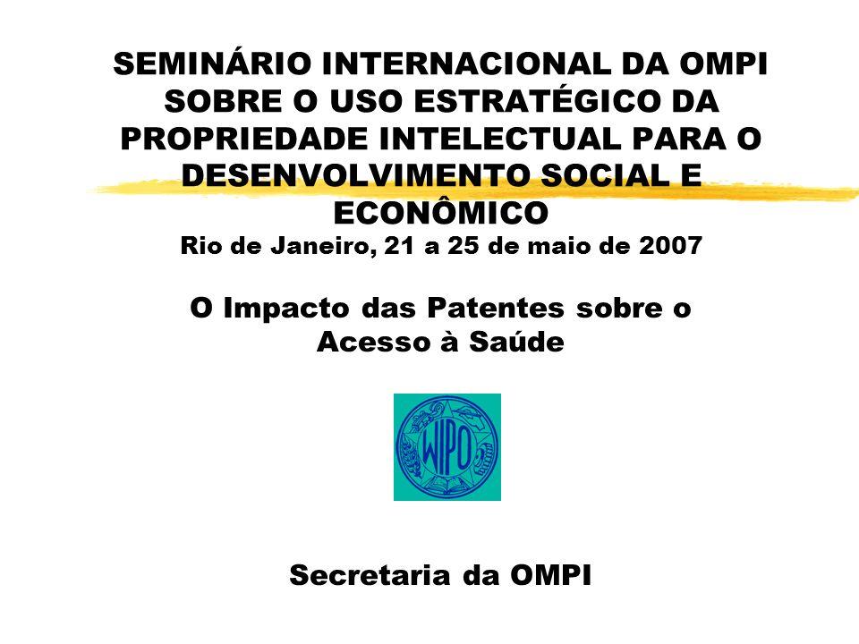 SEMINÁRIO INTERNACIONAL DA OMPI SOBRE O USO ESTRATÉGICO DA PROPRIEDADE INTELECTUAL PARA O DESENVOLVIMENTO SOCIAL E ECONÔMICO Rio de Janeiro, 21 a 25 de maio de 2007 O Impacto das Patentes sobre o Acesso à Saúde Secretaria da OMPI