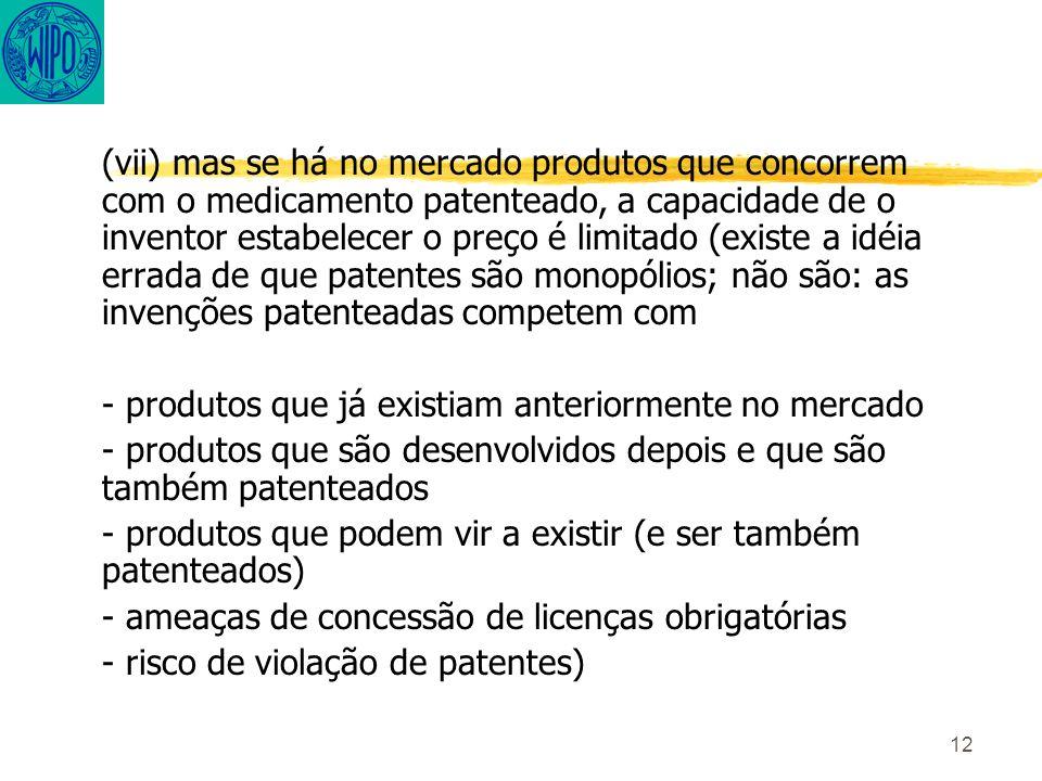 12 (vii) mas se há no mercado produtos que concorrem com o medicamento patenteado, a capacidade de o inventor estabelecer o preço é limitado (existe a idéia errada de que patentes são monopólios; não são: as invenções patenteadas competem com - produtos que já existiam anteriormente no mercado - produtos que são desenvolvidos depois e que são também patenteados - produtos que podem vir a existir (e ser também patenteados) - ameaças de concessão de licenças obrigatórias - risco de violação de patentes)