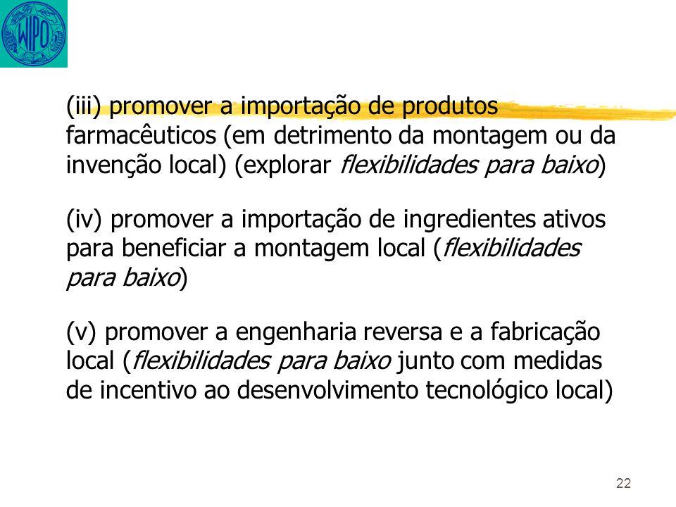 22 (iii) promover a importação de produtos farmacêuticos (em detrimento da montagem ou da invenção local) (explorar flexibilidades para baixo) (iv) promover a importação de ingredientes ativos para beneficiar a montagem local (flexibilidades para baixo) (v) promover a engenharia reversa e a fabricação local (flexibilidades para baixo junto com medidas de incentivo ao desenvolvimento tecnológico local)