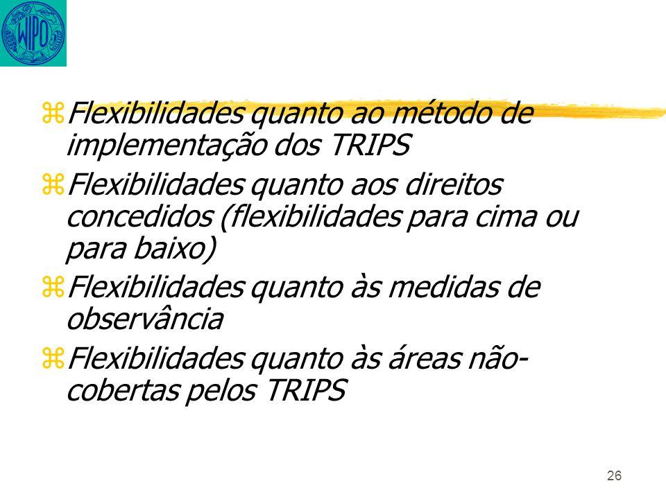 26 zFlexibilidades quanto ao método de implementação dos TRIPS zFlexibilidades quanto aos direitos concedidos (flexibilidades para cima ou para baixo) zFlexibilidades quanto às medidas de observância zFlexibilidades quanto às áreas não- cobertas pelos TRIPS