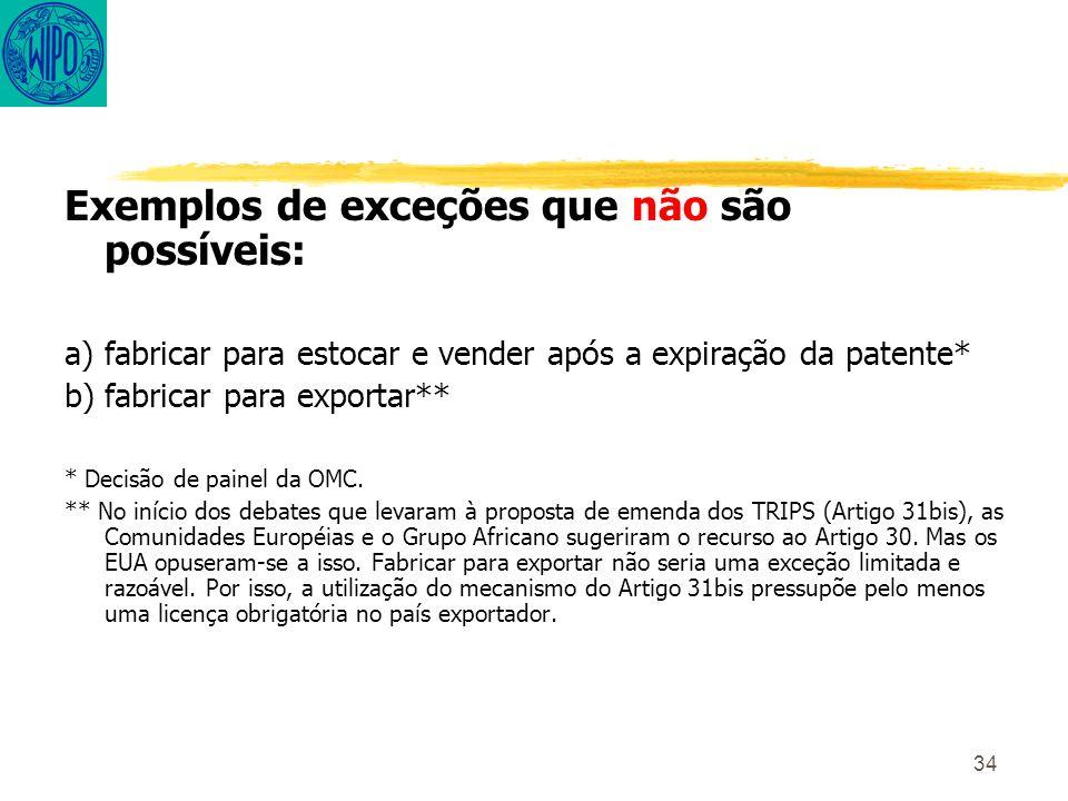 34 Exemplos de exceções que não são possíveis: a) fabricar para estocar e vender após a expiração da patente* b) fabricar para exportar** * Decisão de painel da OMC.