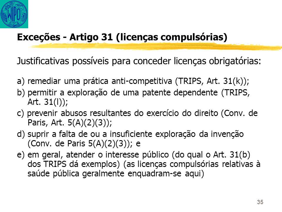 35 Exceções - Artigo 31 (licenças compulsórias) Justificativas possíveis para conceder licenças obrigatórias: a) remediar uma prática anti-competitiva (TRIPS, Art.