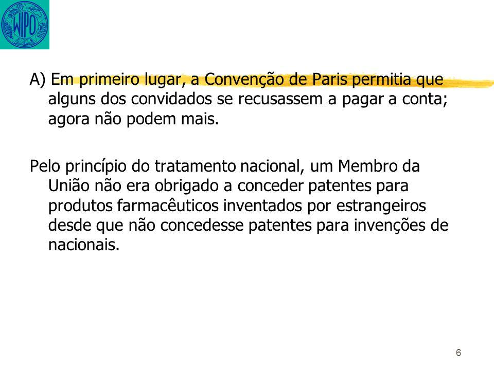 6 A) Em primeiro lugar, a Convenção de Paris permitia que alguns dos convidados se recusassem a pagar a conta; agora não podem mais.