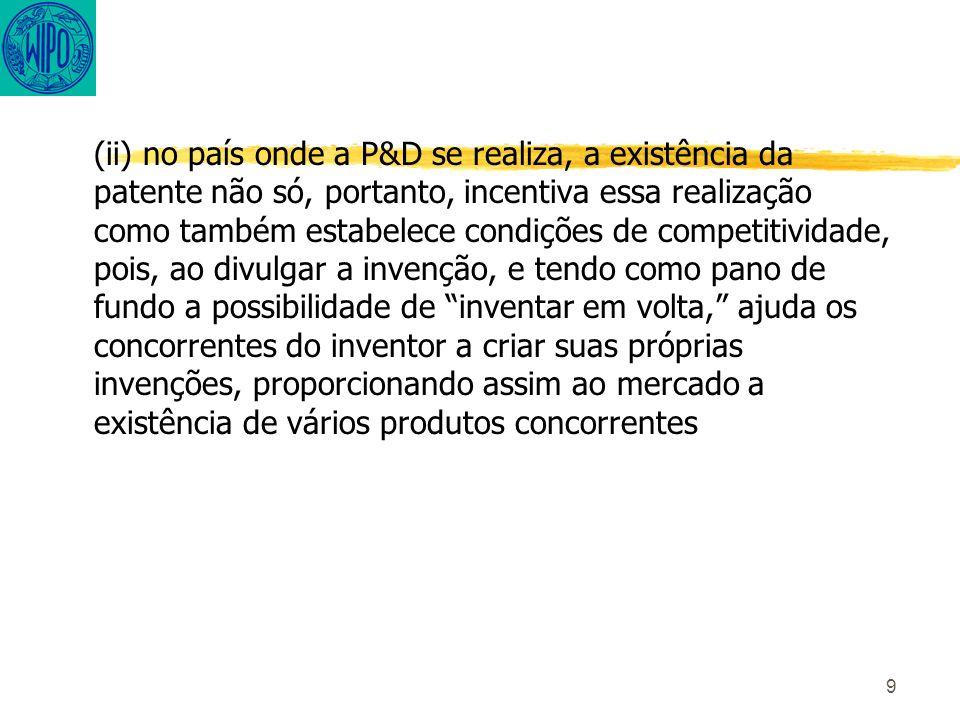 9 (ii) no país onde a P&D se realiza, a existência da patente não só, portanto, incentiva essa realização como também estabelece condições de competitividade, pois, ao divulgar a invenção, e tendo como pano de fundo a possibilidade de inventar em volta, ajuda os concorrentes do inventor a criar suas próprias invenções, proporcionando assim ao mercado a existência de vários produtos concorrentes
