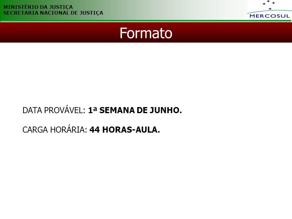 MINISTÉRIO DA JUSTIÇA SECRETARIA NACIONAL DE JUSTIÇA DATA PROVÁVEL: 1ª SEMANA DE JUNHO. CARGA HORÁRIA: 44 HORAS-AULA. Formato