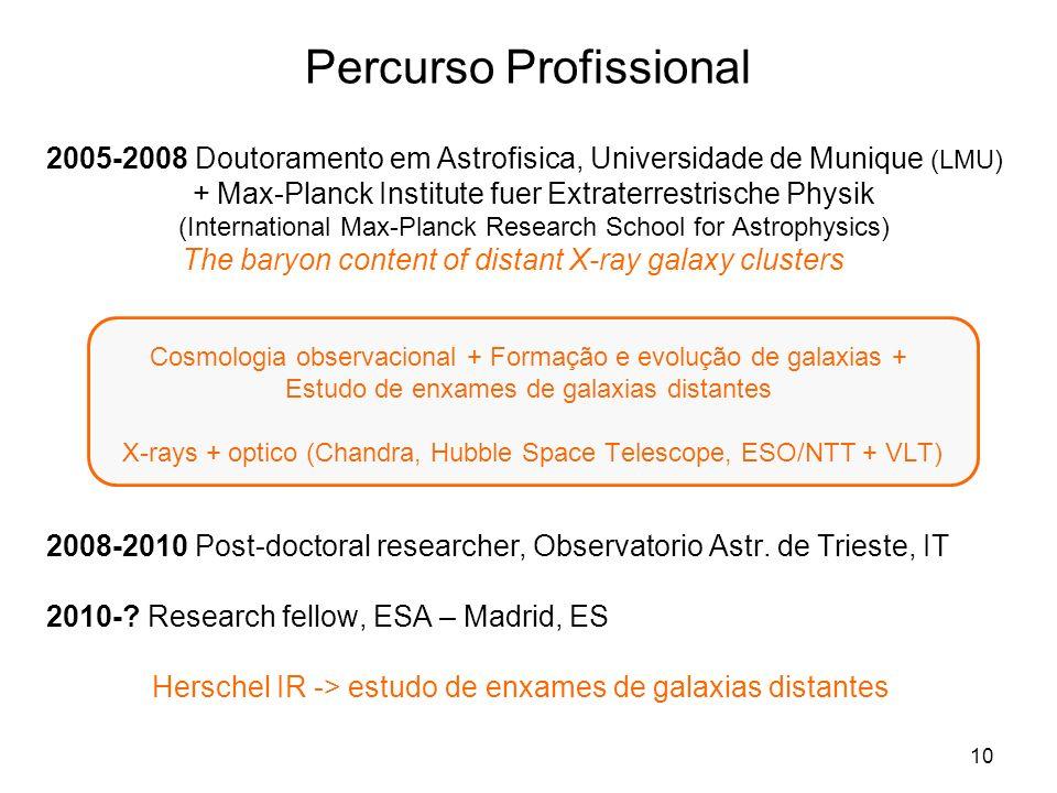 10 Percurso Profissional 2005-2008 Doutoramento em Astrofisica, Universidade de Munique (LMU) + Max-Planck Institute fuer Extraterrestrische Physik (I