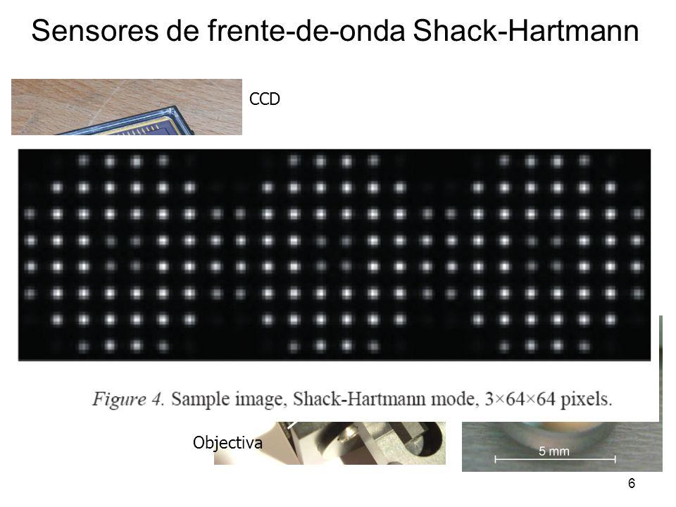 6 Sensores de frente-de-onda Shack-Hartmann Lenslet Array Re imaging lens LA Objectiva CCD