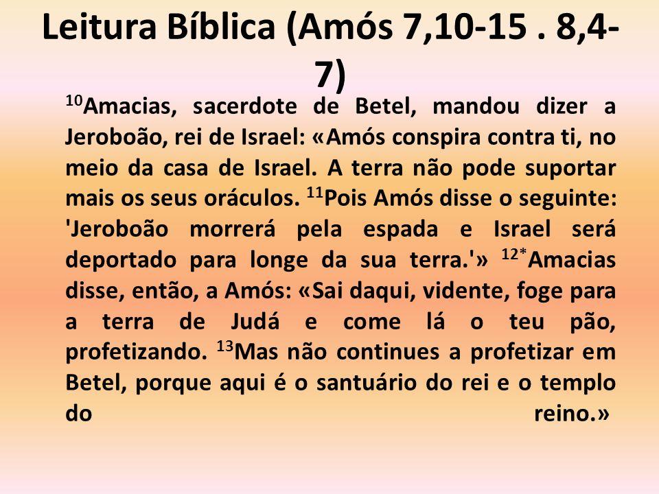 14 Amós respondeu a Amacias: «Eu não era profeta, nem filho de profeta.