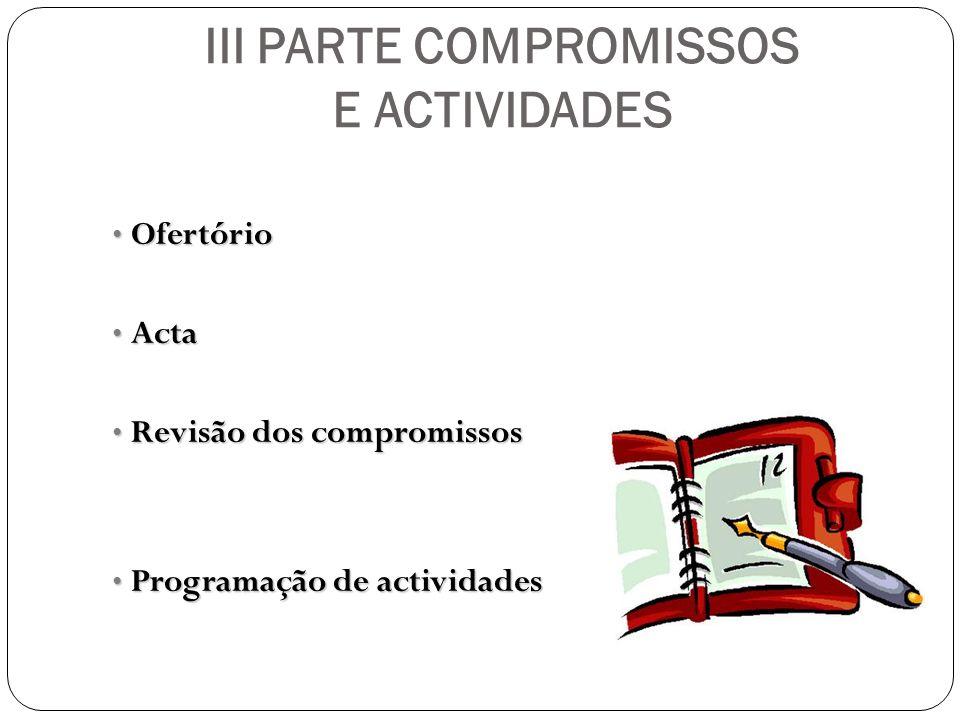 III PARTE COMPROMISSOS E ACTIVIDADES Ofertório Ofertório Acta Acta Revisão dos compromissos Revisão dos compromissos Programação de actividades Progra