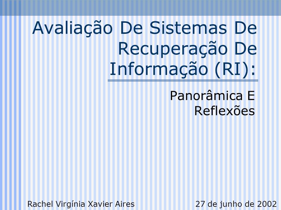 5255 Avaliação De Sistemas De RI: Reflexões É possível realizar uma avaliação conjunta de RI tomando por base os critérios das já existentes e/ou atualizando-os para as necessidades atuais É necessário criar uma base de consultas e documentos relevantes para português