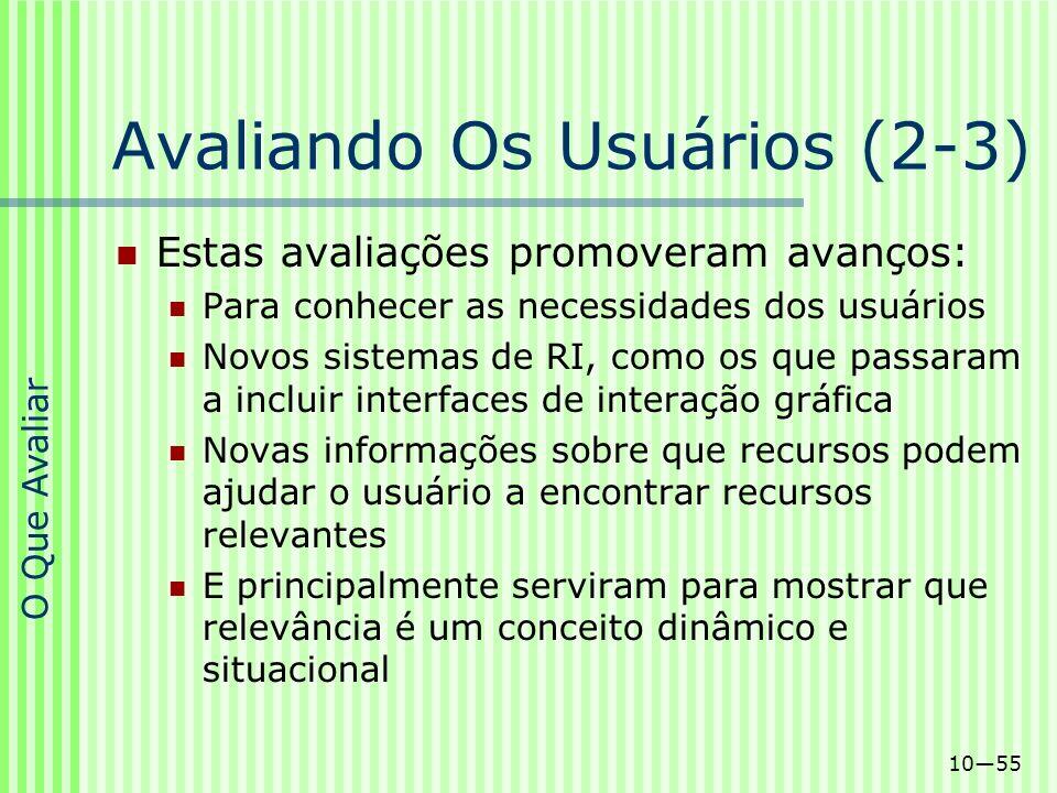 1055 Avaliando Os Usuários (2-3) Estas avaliações promoveram avanços: Para conhecer as necessidades dos usuários Novos sistemas de RI, como os que pas