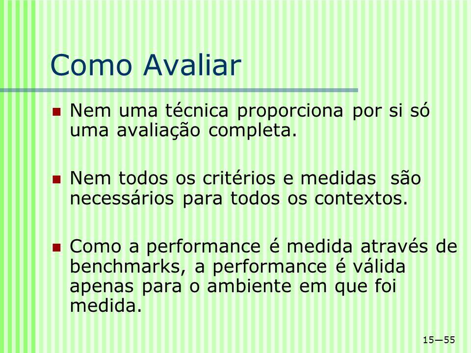 1555 Como Avaliar Nem uma técnica proporciona por si só uma avaliação completa. Nem todos os critérios e medidas são necessários para todos os context