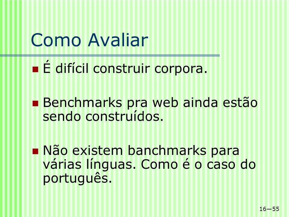 1655 Como Avaliar É difícil construir corpora. Benchmarks pra web ainda estão sendo construídos. Não existem banchmarks para várias línguas. Como é o