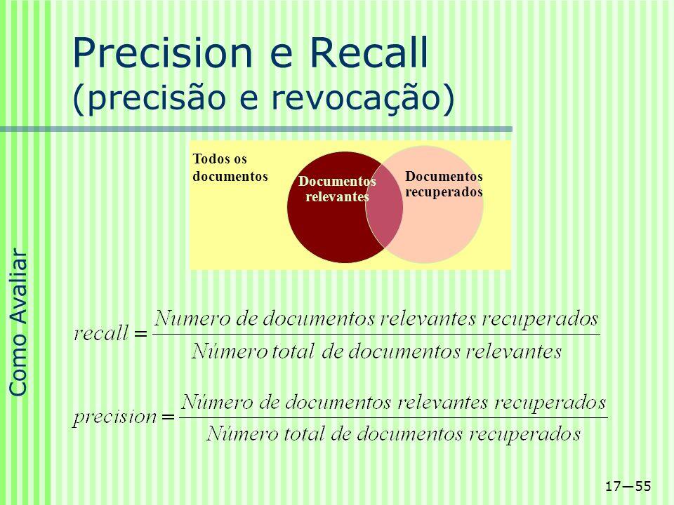 1755 Documentos relevantes Documentos recuperados Todos os documentos Precision e Recall (precisão e revocação) Como Avaliar