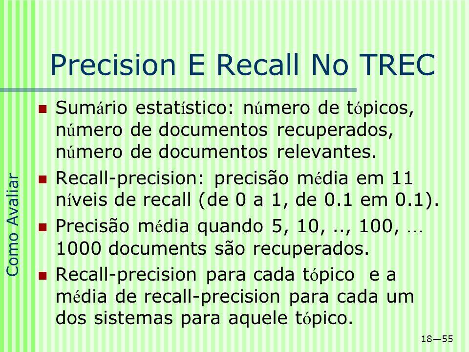 1855 Precision E Recall No TREC Sum á rio estat í stico: n ú mero de t ó picos, n ú mero de documentos recuperados, n ú mero de documentos relevantes.