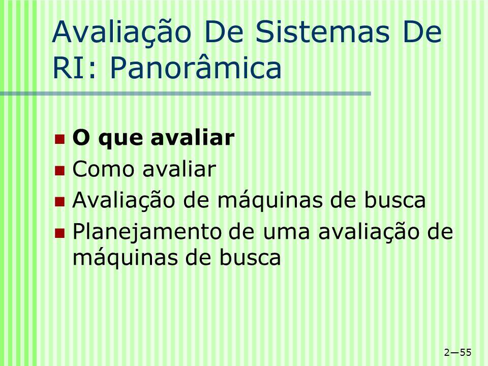 255 Avaliação De Sistemas De RI: Panorâmica O que avaliar Como avaliar Avaliação de máquinas de busca Planejamento de uma avaliação de máquinas de bus