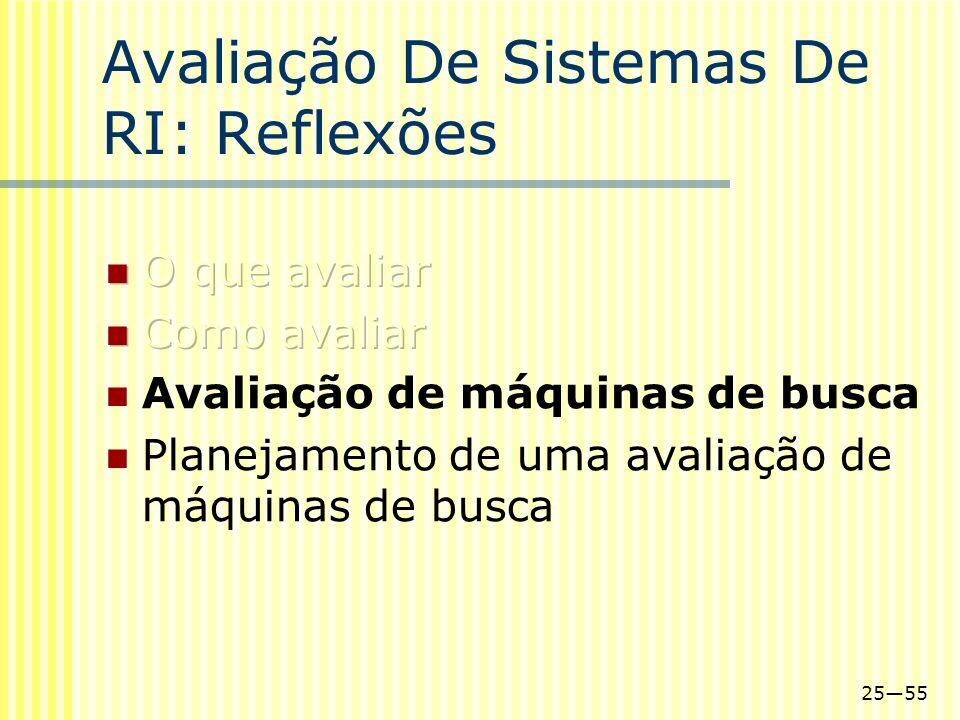 2555 Avaliação De Sistemas De RI: Reflexões