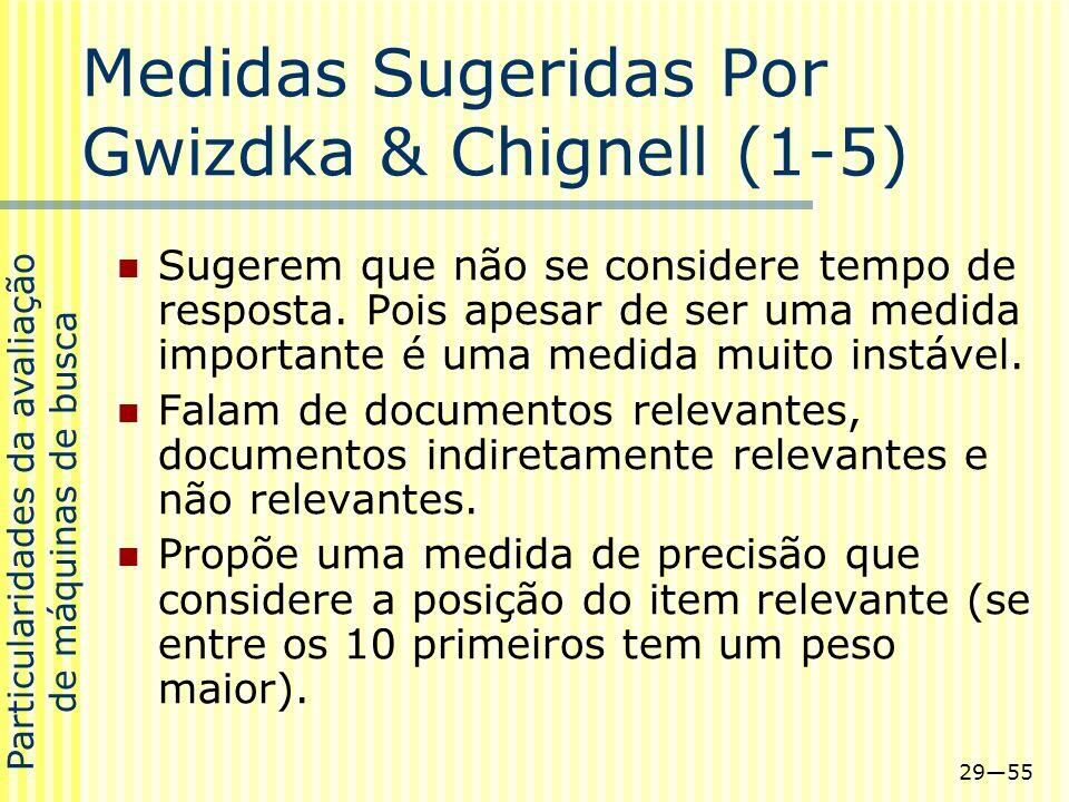 2955 Medidas Sugeridas Por Gwizdka & Chignell (1-5) Sugerem que não se considere tempo de resposta. Pois apesar de ser uma medida importante é uma med