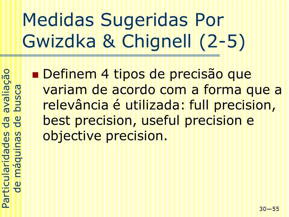 3055 Medidas Sugeridas Por Gwizdka & Chignell (2-5) Definem 4 tipos de precisão que variam de acordo com a forma que a relevância é utilizada: full pr