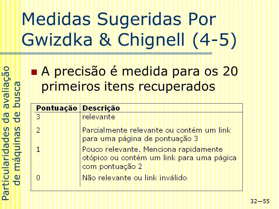 3255 Medidas Sugeridas Por Gwizdka & Chignell (4-5) A precisão é medida para os 20 primeiros itens recuperados Particularidades da avaliação de máquin