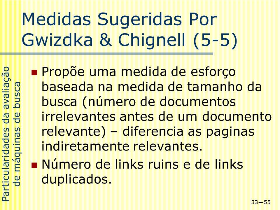 3355 Medidas Sugeridas Por Gwizdka & Chignell (5-5) Propõe uma medida de esforço baseada na medida de tamanho da busca (número de documentos irrelevan