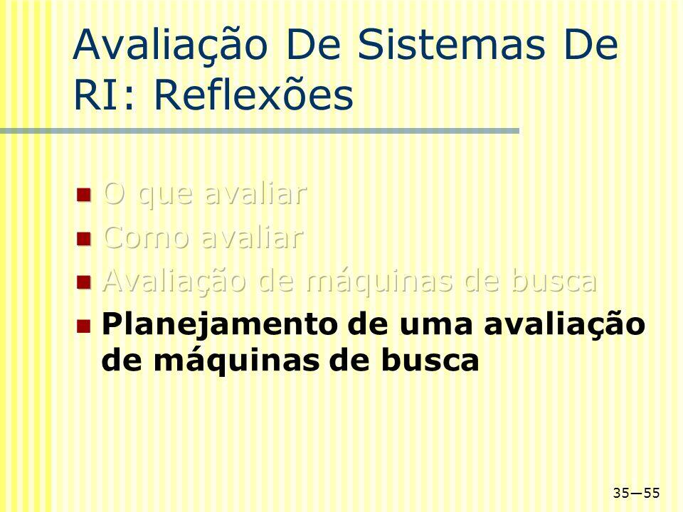 3555 Avaliação De Sistemas De RI: Reflexões