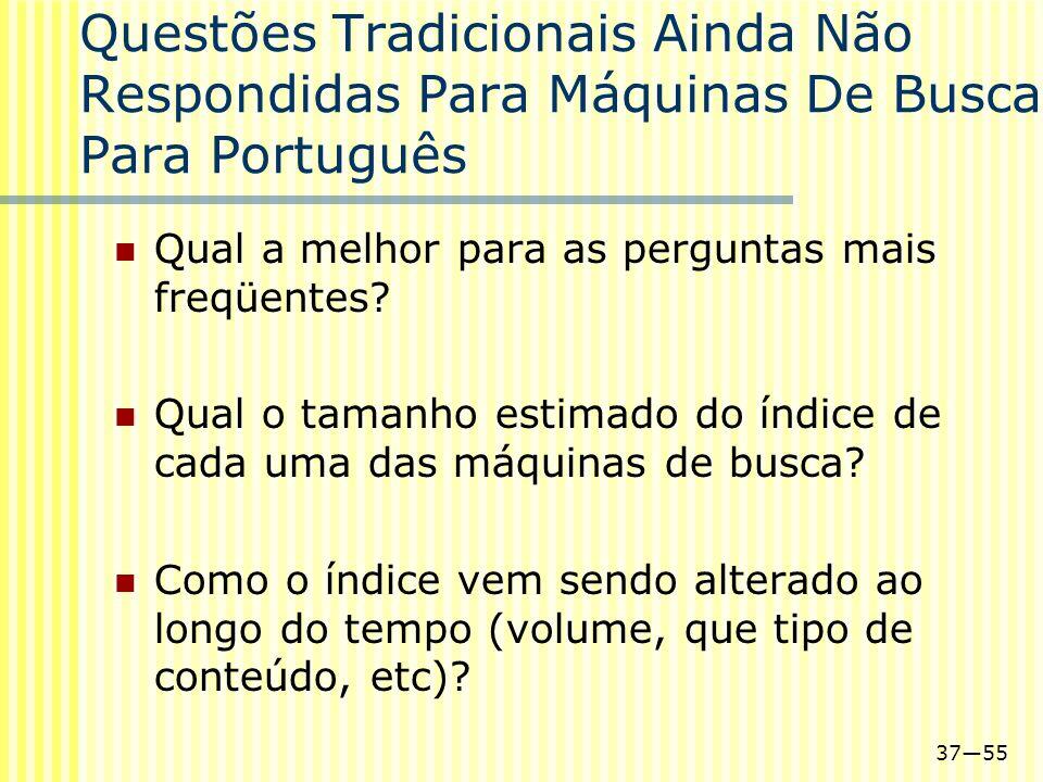 3755 Questões Tradicionais Ainda Não Respondidas Para Máquinas De Busca Para Português Qual a melhor para as perguntas mais freqüentes? Qual o tamanho