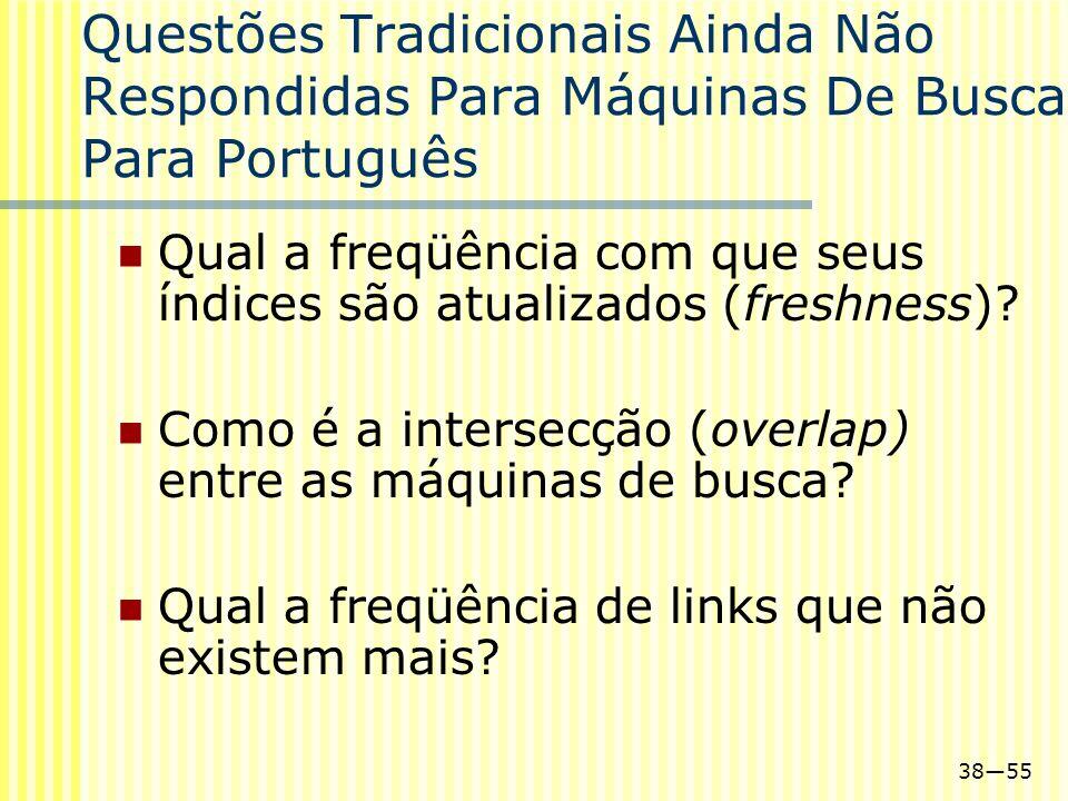3855 Questões Tradicionais Ainda Não Respondidas Para Máquinas De Busca Para Português Qual a freqüência com que seus índices são atualizados (freshne
