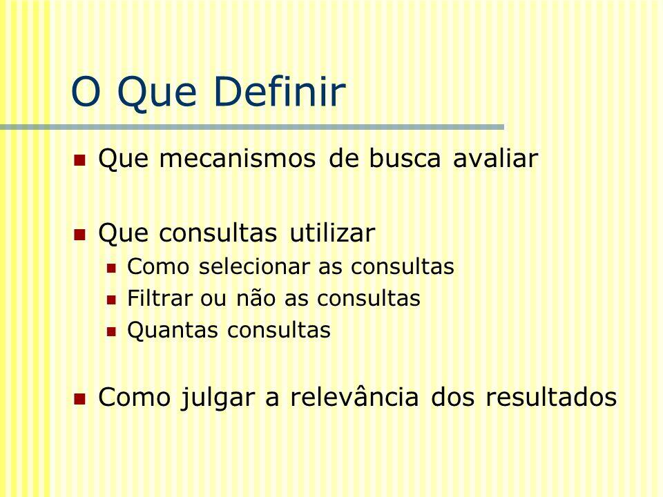 O Que Definir Que mecanismos de busca avaliar Que consultas utilizar Como selecionar as consultas Filtrar ou não as consultas Quantas consultas Como j