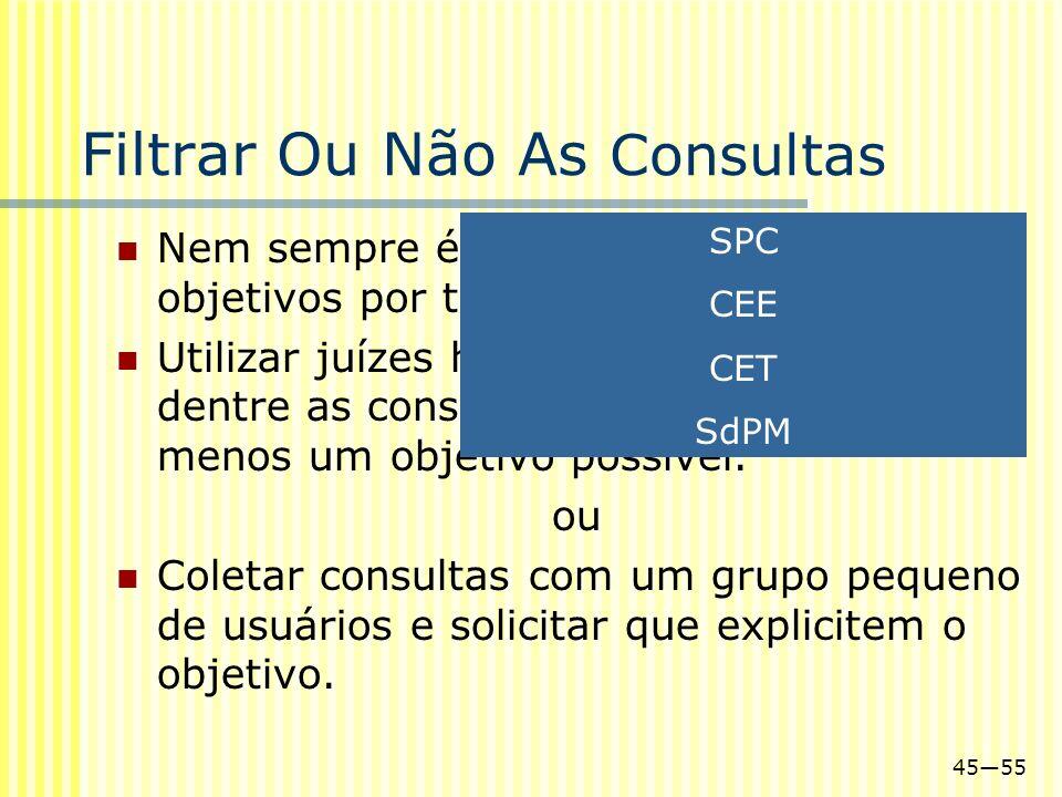 4555 Filtrar Ou Não As Consultas Nem sempre é possível interpretar os objetivos por trás de uma consulta. Utilizar juízes humanos para escolher dentre