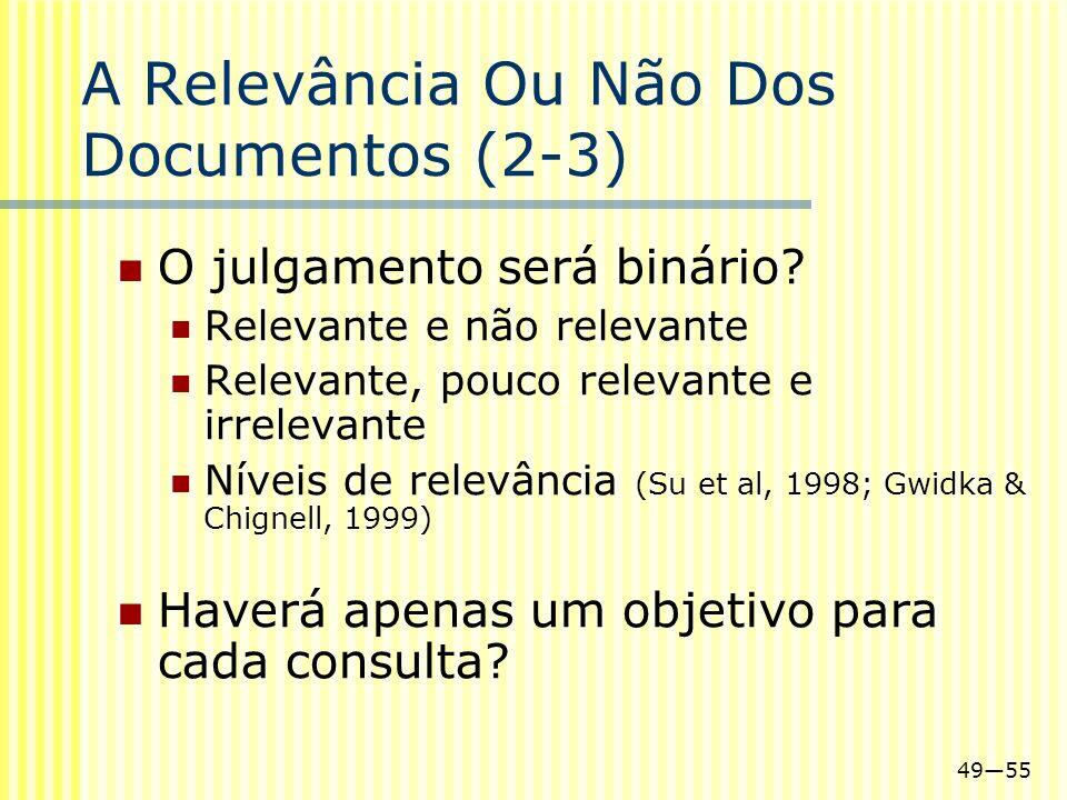 4955 A Relevância Ou Não Dos Documentos (2-3) O julgamento será binário? Relevante e não relevante Relevante, pouco relevante e irrelevante Níveis de