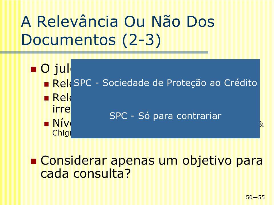 5055 A Relevância Ou Não Dos Documentos (2-3) O julgamento será binário? Relevante e não relevante Relevante, pouco relevante e irrelevante Níveis de