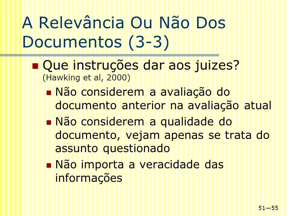 5155 A Relevância Ou Não Dos Documentos (3-3) Que instruções dar aos juizes? (Hawking et al, 2000) Não considerem a avaliação do documento anterior na