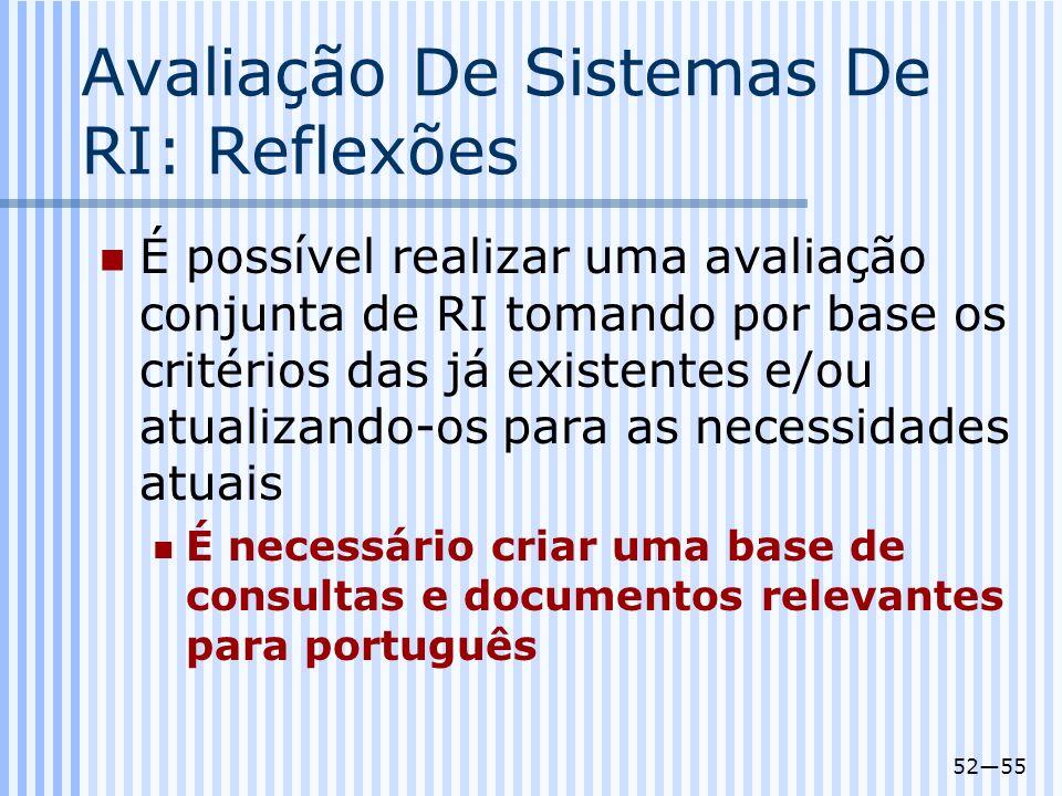 5255 Avaliação De Sistemas De RI: Reflexões É possível realizar uma avaliação conjunta de RI tomando por base os critérios das já existentes e/ou atua