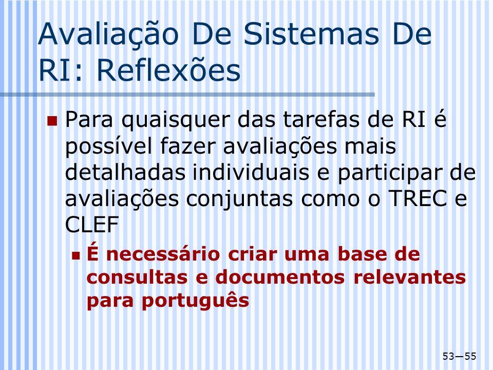 5355 Avaliação De Sistemas De RI: Reflexões Para quaisquer das tarefas de RI é possível fazer avaliações mais detalhadas individuais e participar de a