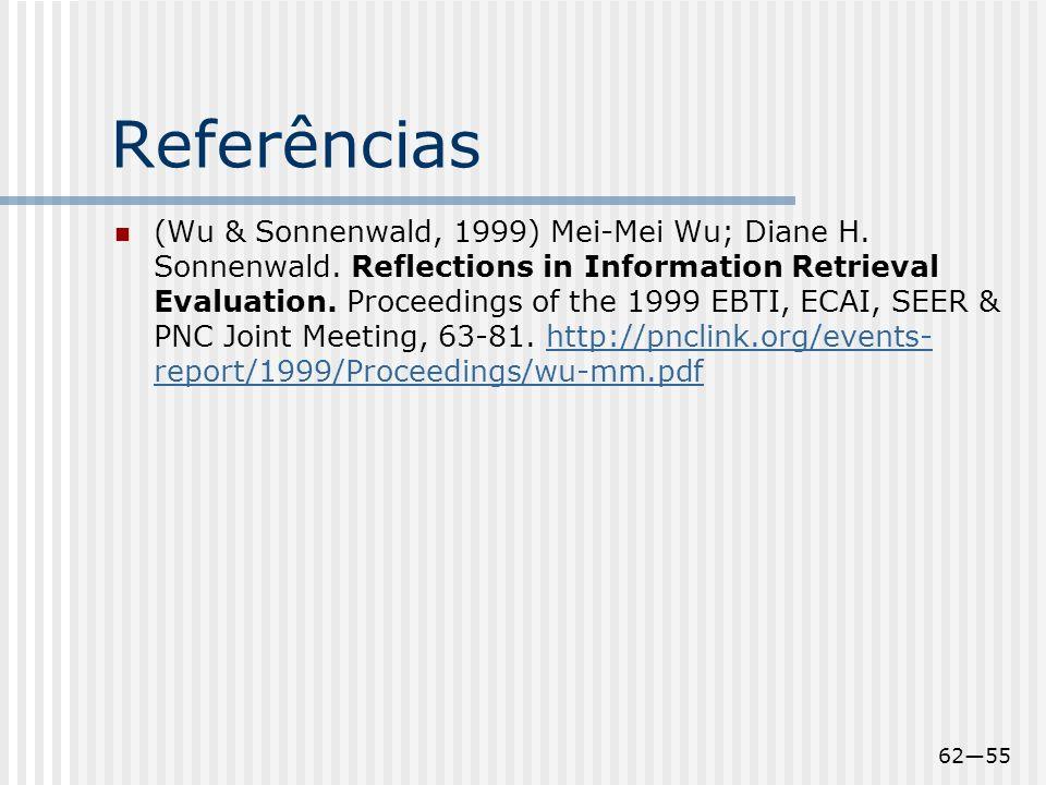 6255 Referências (Wu & Sonnenwald, 1999) Mei-Mei Wu; Diane H. Sonnenwald. Reflections in Information Retrieval Evaluation. Proceedings of the 1999 EBT